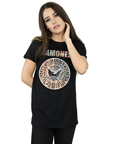 Ramones Mujer Flag Seal Camiseta del Novio Fit XX-Large Negro