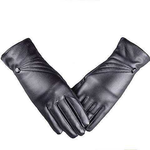 OverDose Luxurious Women Girl Cuir hiver Super Warm Gloves Cachemire écran tactile (Noir)