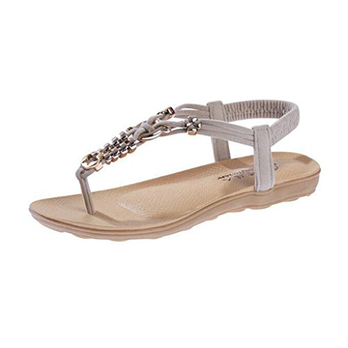 Binying Sandale Spartiate Femme Plate Chaussure Plage Beige
