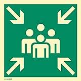 Schild Sammelstelle HIGHLIGHT Alu langnachleuchtend 40 x 40 cm (Fluchtweg, Sammelpunkt, Sammelplatz) wetterfest