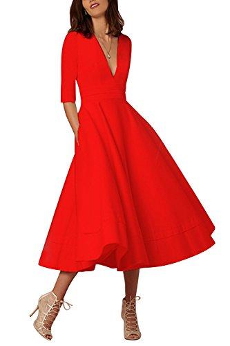 MisShow Damen Retro 1920s Stil Damen Kleid Karneval Flapper Kleid V Ausschnitt Troddel Gatsby Mottoparty Damen Kostüm Kleid Rot - Kleid Wie Ein Promi Kostüm