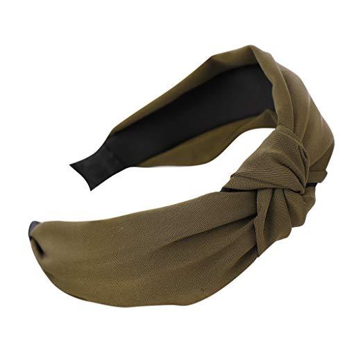 KUDICO Stirnband Damen Retro Haarreif Breitgefarbene Reifen Schnalle Weibliche mit Knoten Haarband Kopftuch Turban Yoga Sport(Armee grün, One size)