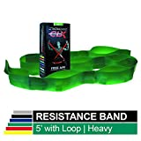 Thera-Band Non-Latex CLX Consecutive Resistance Band Loops, Individual 5 Foot Pre-Cut, 9 Loops, Green, Heavy, Intermediate Level 1