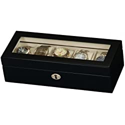 Black Satin Wood Finish 5 Watch Display Box Case - Mele & Co
