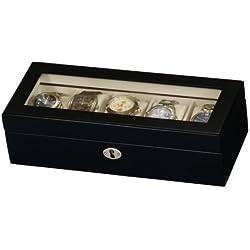 Black Satin Wood Finish 5 Watch Display Box Case - Mele & Co