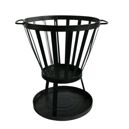 *Kamino Flam Feuerkorb, vormontierte Feuerstelle, Feuerschale pulverbeschichtet, Gartenofen mit Funkenschutzbodenplatte zur Vorbeugung von Rasenschäden, einfache Montage, robuste Ascheschale, standfest, schwarz*
