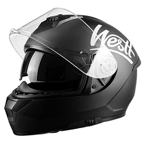 Westt Storm X Casco Moto Integrale con Doppia Vvisiera - Nero Opaco Scooter per Moto certificato ECE