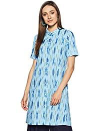 Indi lite Women Light Blue Ikat Printed Cotton Half Sleeve Shirt style Mandarin Collar Kurta