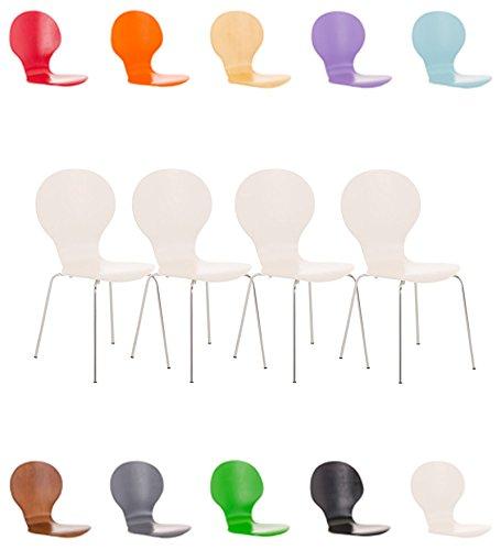 CLP 4 x Stapelstuhl DIEGO mit Holzsitz & ergonomisch geformter Sitzfläche, bis zu 12 Farben wählbar weiß