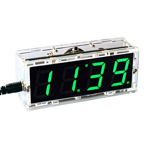 KKmoon Kompakte Digitale 4-stellige LED Talking Clock DIY Kit Licht Steuerung Temperatur Datum Zeit Transparent Vitrine(Grün)