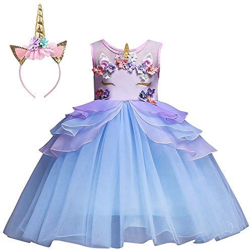 Mbby costumi carnevale bambine,2-7 anni vestiti unicorno da cerimoni per bambina cerimonia abiti princess fiori senza manica tulle abito tutu