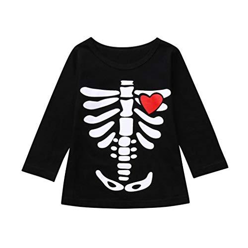 QinMM Kleinkind Kleinkinder Baby Jungen Mädchen Skeleton Print Tops Halloween Kostüm Outfits Set Rot Rosa Für 18 Monate-5 Jahre (3T, Rot)