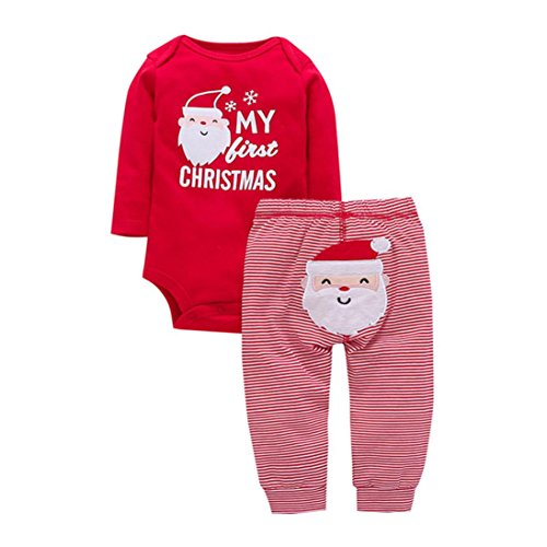 g Sets tops Cartoon Neugeborenen hut Strampler Outfit Säuglingsbaby Sweatshirt Pullover Bluse Strampler Sankt Claus Print Tops + Baumwollhose Weihnachtskleidung Set (9M, Red) (Halloween-kostüme Mit Leopard-print)