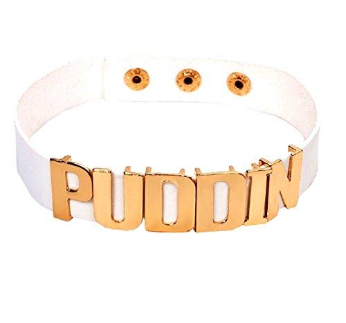 Weißer Kragen mit geschriebenen Puddin Harley Quinn für Kinder Karneval Halloween Cosplay Suicide Squad Film Idee Geschenk kleine (Haar Erweiterungen Kostüm Weißes)