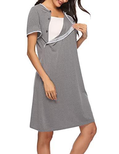 Sykooria Vestido de Lactancia, Ropa de Dormir de Algodón para Premamá, Conjunto de Pijamas de Maternidad...