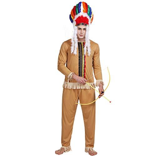 Fastnacht Kostüm - EraSpooky Herren Indianer Amerikanischer Ureinwohner Kostüm Faschingskostüme Cosplay Halloween Party Karneval Fastnacht Kleidung für Erwachsene
