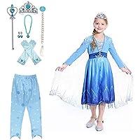 JJAIR Los Trajes de Las niñas Vestido de Princesa para Arriba, Traje de la Nieve del Vestido de la Reina de Halloween con los Accesorios y Pantalones,130