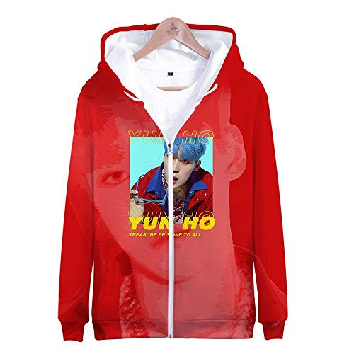 ex 3D Gedruckte Song Und Tanz Kombination Thema Jugend Kapuzen Sweatshirt Lose Reißverschluss Paar Lässig Hoodie Shirt, Ateez, L ()