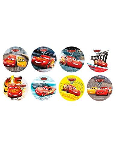 16 Mini disques en Sucre Cars 3 3,4 cm
