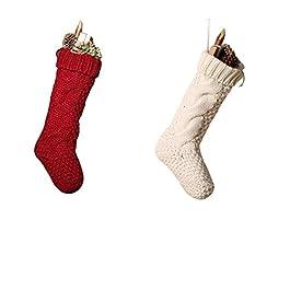 Calze di Natale a maglia uniche, bordeaux e avorio