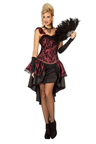 The Fantasy Tailors Can Can Kostüm Damen Rot kurz lang Rock Brokat-Muster Damenkostüm Wilder Westen Saloon Karneval Fasching Verkleidung Fastnacht Größe 40 - Saloon Girl Kostüm Muster