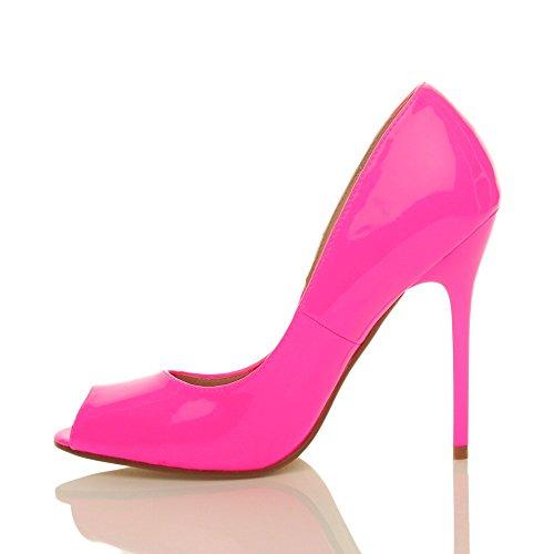 Sandals Neon Rosa Grupo Elementar Espreitadela De Salto Sapatos Tamanho Senhoras Trabalho Pintura Toe Alto Salto Fúcsia 6vwn7
