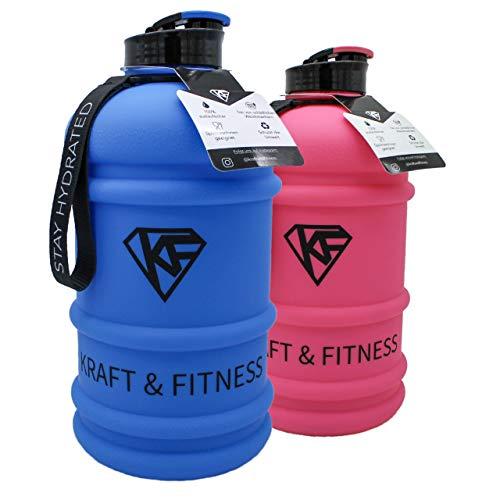 Kraft & Fitness Premium Water Jug spülmaschinenfest - Wasser Trinkflasche 2L matt - optimierter Schnellverschluss - BPA frei - Water Bottle für Gym, Alltag & Arbeit