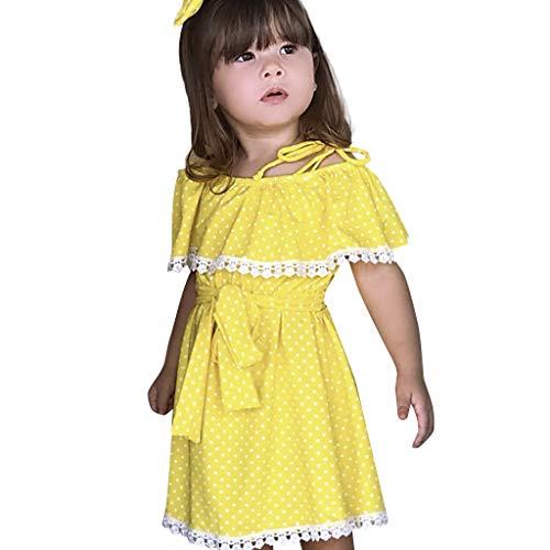 Länge Trägerlosen Ballkleid (YpingLonk Kleinkind-Baby-Weg Kleid, Kleider Sling trägerlosen Schulter Lace Rüschen gekräuselten Polka Dot Print Rock Kleid)