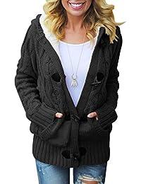 Dokotoo Strickjacke für Damen Grobstrick Kurz Strickcardigan Strickmantel mit Kapuzen Pullover Langarm Taschen Herbst Winter Outwear Cardigan