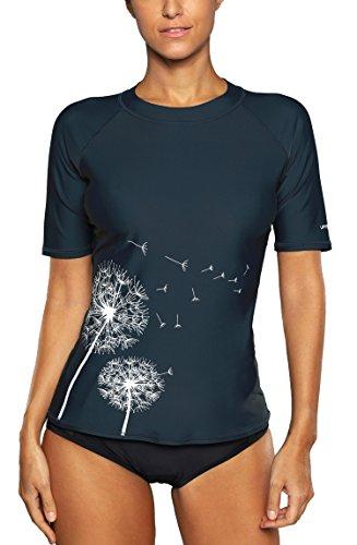 Attraco Damen Bademode Rash Guard UV Schutz Shirts Kurzarm Surf Shirt UPF 50+ Navy L