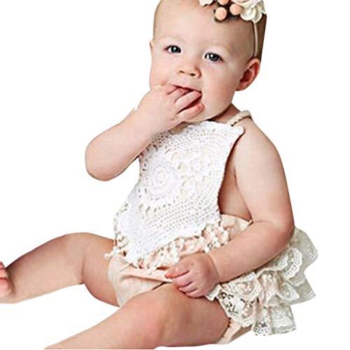 MRURIC Kleinkind Baby Mädchen Lace Halter rückenfreie Overall Strampler Bodysuit Sunsuit Kleidung,Kinder Weihnachten Kostüm Top Set Karneval Strampler Hut Outfits Set ()