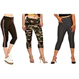 "Aglobi"" Brand Poly Cotton Camouflage/Military/Army Track Comfort Capri Pant for Women's (28 to 34) Size"