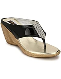 Rimezs Black Stylish Embellish Party And Evening Wear Open Back Wedges Sandal For Women And Girls