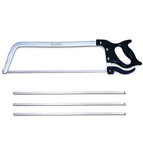Dick - Sierra de arco (50 cm, inoxidable, incluye 3 hojas de sierra de repuesto, para facilitar el corte de huesos y alimentos congelados)
