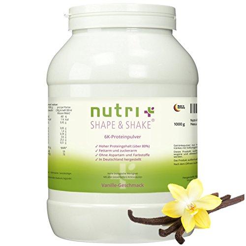 Nutri-Plus Shape & Shake Vanille 1kg - Proteinpulver ohne Aspartam - Mit Whey-Isolat + Casein - Dose inkl. Dosierlöffel - Low-Carb Eiweißshake (Whey Protein Trinken)