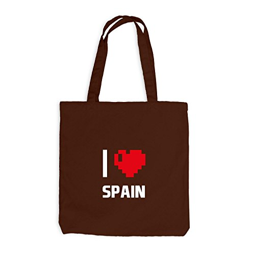Borsa Di Juta - Amo Spain - Spain Travel Heart Heart Pixel Chocolate