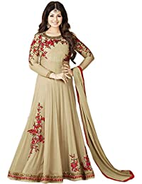 AnK Women's Georgette Embroidered Long Semi-Stitched Salwar Suit(Cream_Grey_Orange_Pista)