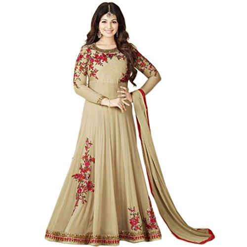 AnK Women's Georgette Embroidered Long Semi-Stitched Salwar Suit( Cream_Grey_Orange_Pista ) (Cream)