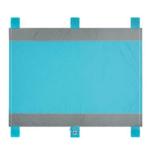 Rhino Valley Picknick Decken mit wasserabweisender Unterseite, XXL Campingdecke Anti-Sand Reisedecke Stranddecke Wärmeisoliert mit Tragegriff Blau (200x200 cm)