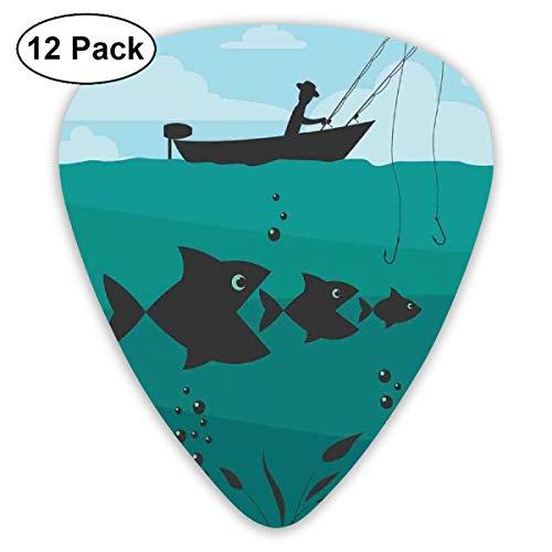 Guitar Picks 12-Pack,Single Man In Boat Luring With Bobbins Nautical Marine Sea Nature Funky Image Print -