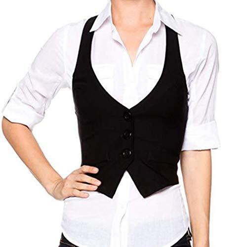 Tiaobug Damen-Weste Anzug-Weste U-Ausschnitt Kellnerweste MODERN Slim Fit Kellnerweste Workwear Business Beiläufige Golf Waistcoat Weste - Damen Golf Westen