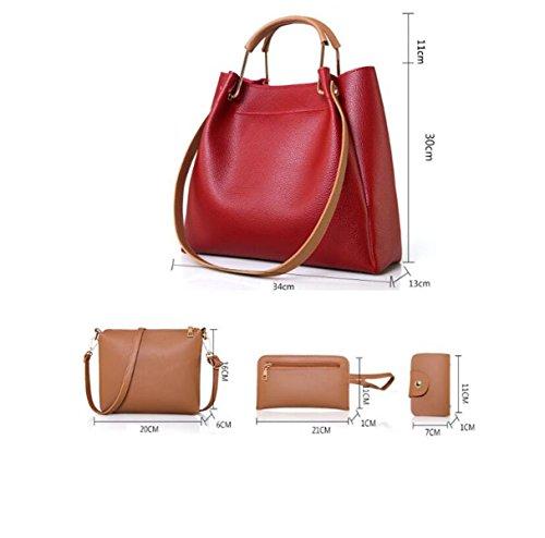 Frauen PU Handtasche Vier-Stück Multifunktions Schulter Messenger Bag Black