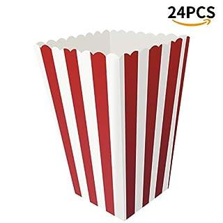 Popcorn Boxen – Offener Deckel aus Papier, gestreift, Popcorn-Tüten/Snack-Behälter, perfekt für Familien-Filmabende, Theaters/Grillpartys, 8,9 x 7,6 x 16 cm, 24 Stück rot