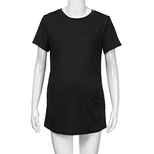 u⭐️Dame Frauen Sommerkleid,Transer Kurze Ärmel Rundhals Mutterschaft Solid Color Kleidung T-Shirt (S, Black) (Schlanke Frau Kostüm)