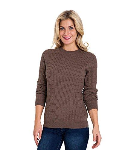 WoolOvers Pullover mit Rundhalsausschnitt und Zopfmuster aus Baumwolle-Kaschmirwolle für Damen Mocha Brown, XL (Brown Pullover Cashmere)