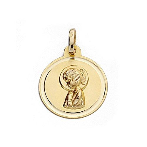 Medalla Oro 18K Virgen Nina 16mm. Redonda [9074Gr] - Personalizable - Grabación Incluida En El Precio