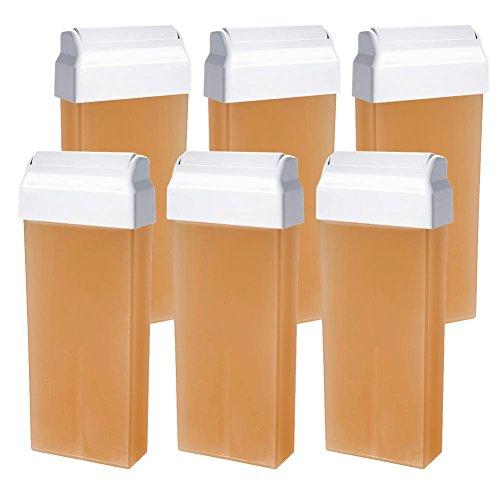 Wachspatrone NATURAL wasserlöslich Zuckerpaste für die Enthaarung mit Vliesstreifen großer Roller 100 ml 6 Stück