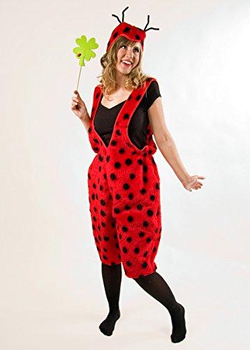 Marienkäfer-Kostüm für Damen Latzhose Plüsch S / M