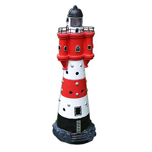 XL LED Solar Leuchtturm 50 cm | Garten Deko Leuchtfeuer Rot Weiß | Gartendeko Beleuchtung Mit Dämmerungssensor | Solarbeleuchtung Gartendekoration
