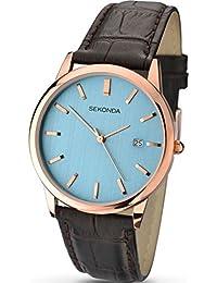 SEKONDA 1011.27 - Reloj de cuarzo para hombres, color marrón